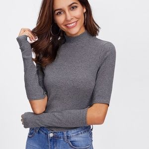 NWOT Gray Long Cutout Sleeve Knit Sweater Top